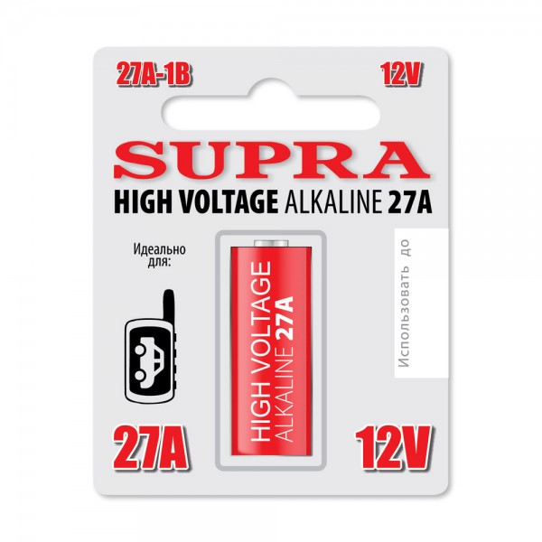 Элемент питания щелочной, цилинидрический, высоковольтный  SUPRA 27A-1B